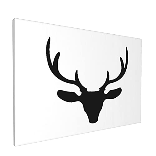 Wall Art Prints,Black Silhouette Of Reindeer Head With Big Ho,Modern Framed Oil Paintings On Canvas For Living Room Bedroom Home Decorations 18x12 Inch