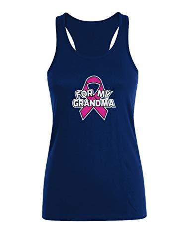 Camiseta sin Mangas para Mujer - For my Grandma - Apoya la Lucha contra el Cáncer de Seno Medium Azul Oscuro
