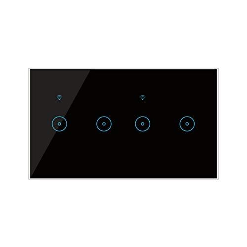 Interruttore a Sfioramento a Pannello in Vetro Interruttori Luce 220V WiFi Interruttore Intelligente EU Standard per Luce a Led, Neutro Richiesto, 4/5/6 Gang Nero