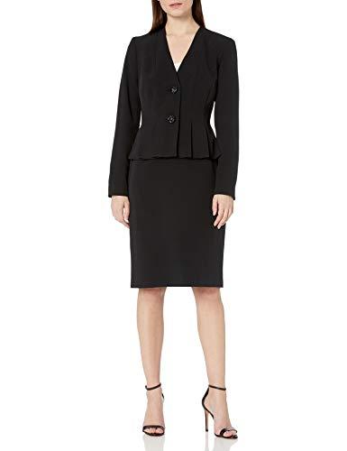 Le Suit Women's V-Neck 2 Button Seamed Crepe Skirt Suit, Black, 16