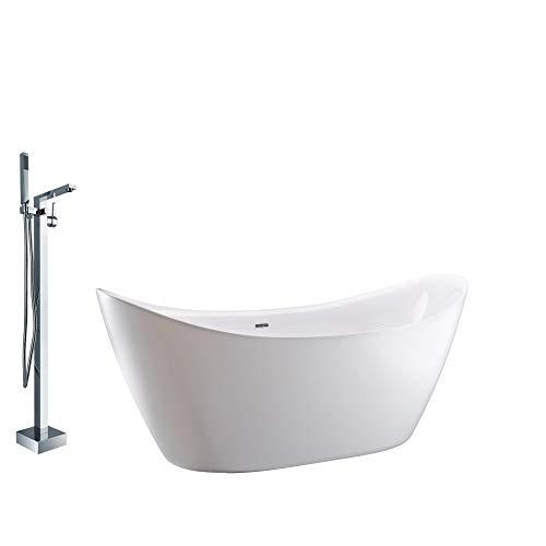 Vrijstaande acryl badkuip SIENA mat wit - 173 x 73 x 75 cm - kraan optioneel, Mixer mengkraan:Incl. Standaard fitting 1521, Sifon voor vrijstaand bad:Zonder Sifon