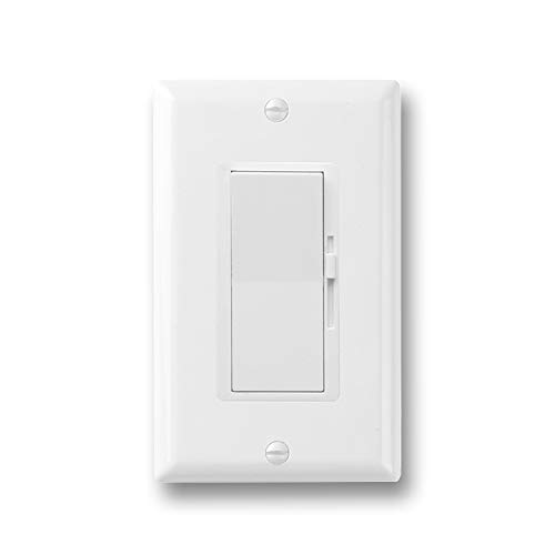 QPLUS Dimmer Switch for Dimmable LED, Halogen and Incandescent Bulbs, with Wallplate, Single Pole or 3 Way, 120V AC, White (1 Pack)