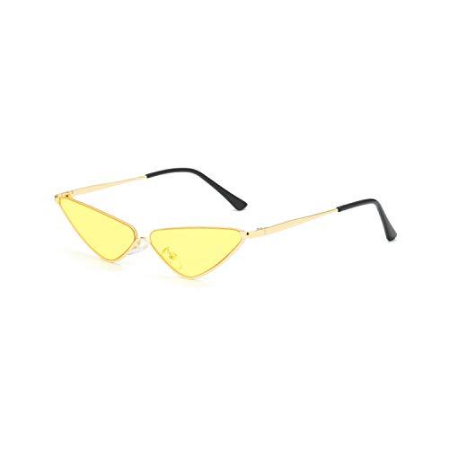 Gafas Deportivas, Pesca Gafas De Golf, Retro Small Cat Eye Sunglasses For Women Brand Designer Metal Half Frame Shade Triangle Eyeglasses Vintage Cateye Sun Glasses yellow