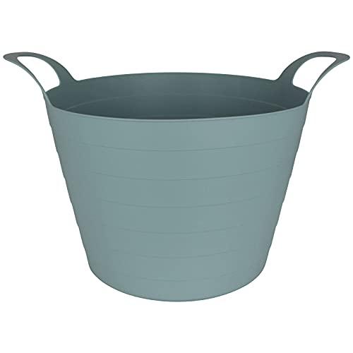 Flexibler Kunststoffkorb rund 30L mit Farbwahl Aufbewahrungskorb Spielzeug Garten Wäsche Aufbewahrung Korb Kiste Einkaufskorb Tragekorb (Pastell Blau)