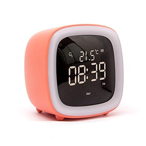 wzroy Reloj Despertador Digital, Luz Nocturna De Dibujos Animados, Reloj ElectróNico con TermóMetro De BateríA Recargable, Reloj De Cabecera Multifuncional, NiñOs