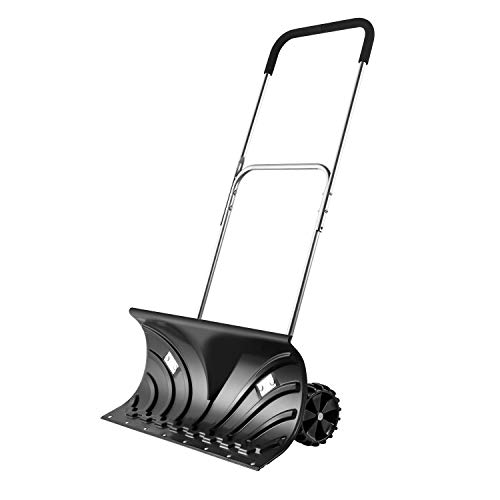 """ORIENTOOLS Heavy Duty Snow Shovel, Rolling Adjustable Snow Pusher with 6"""" Wheels, Efficient Snow Plow Suitable for Driveway or Pavement Clearing (25"""" Blade)"""