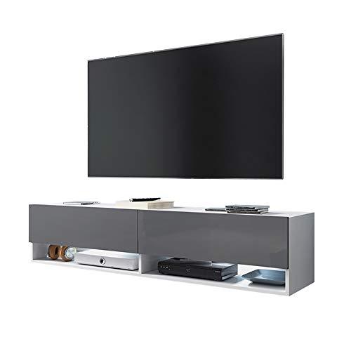 Selsey WANDER - Meuble tv/Banc tv (140 cm, blanc mat/gris brillant, avec LED) 140 x 32,5 x 30