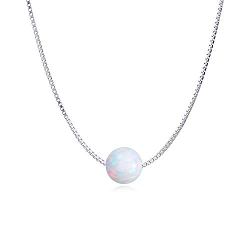 WINNICACA Round Created White Opal Choker Sterling Silver Simple Dainty Necklace Jewellery Gifts for Women Teens,16+2''