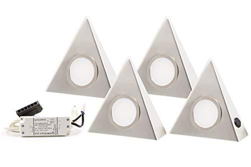 4er Set LED Dreieckleuchte Unterbauleuchte küchen unterbauleuchte Edelstahl 3W LED SMD Warmweiß mit Zentralschalter