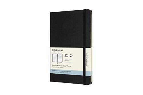 Moleskine - Agenda Mensual de 18 Meses, Agenda 2021/2022, Agenda Mensual con Tapa Dura y Cierre Elástico, Tamaño Grande 13 x 21 cm, Color Negro,...
