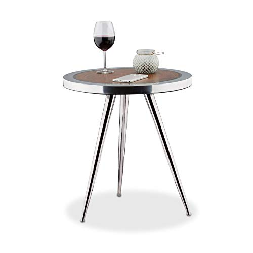 Relaxdays Table d'appoint plateau en bois d'Acacia 3 pieds métal table basse design déco HxlxP: 54 x 50 x 50 cm, argenté