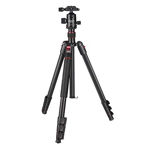 Aneva 三脚 一脚可変式 カメラ用 4段 全高1680mm 脚径26mm 自由雲台 水準器付き アルミ製 クイックシュー式 コンパクト キャリングバッグ付き (レッド)