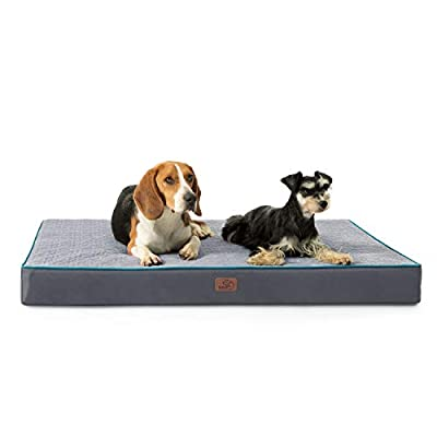 Bedsure Orthopedic Memory Foam Dog Bed for Large Dogs up to 75/100lbs, (3.5-4 inches Thick) Pet Bed Mattress with Removable Washable Cover, 2-Layer Pet Mat with Waterproof Lining Dog beds, Grey