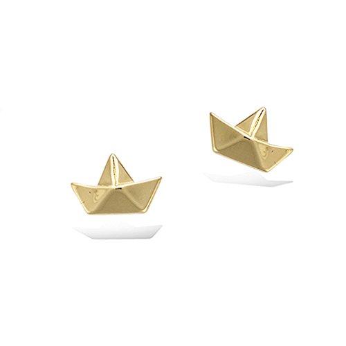 Tata Gisele© - Pendientes chapados en oro – Barco estilo origami plegado – Bolsa de regalo de terciopelo