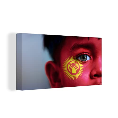 Leinwandbild - Flagge von Kirgisistan - 160x80 cm