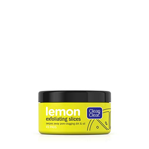 Clean & Clear Exfoliating Lemon Slices Brightening and Cleansing Face Pads with Lemon Extract Vitamin to Cleanse PoreClogging Dirt Oil Free Pads, 45 Count