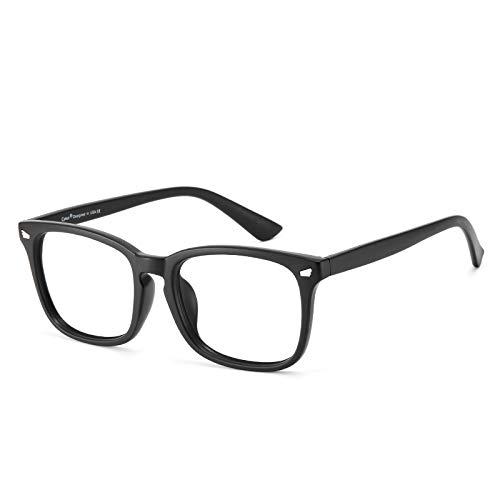 Cyxus Óculos de Luz azul Óculos Quadrados para Computador Óculos Anti-fadiga Ocular Lente Transparente UV400 para Mulheres/Homens (Moldura preta fosca)