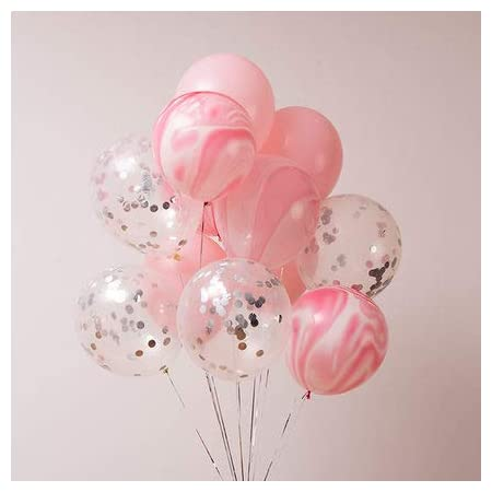 Amazon Com 40 Pcs Silver Confetti And Pink Agate Marble Balloons Pastel Pink Latex Balloons Set For Birthday Party Decorations Wedding Baby Showers Christmas Festival Ceremony Toys Games