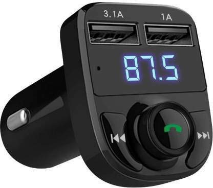 JUTEK® AUTO v4.0 Car, Bluetooth - FM Transmitter in-Car Radio Adapter for Hands-Free Calling, Music Streaming, USB Music, 3.5mm Connector A Dual USB Fast Charger, Supports All Smartphones (Black)