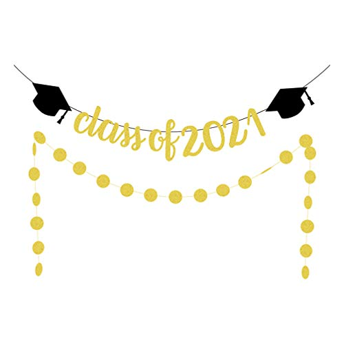 Amosfun Gold Glittery Class of 2021 Banner with Circle Dots Garland Congrats Graduate Banner 2021 Graduation Party Decoration Supplies