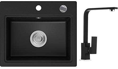 PRIMAGRAN Fregadero de Granito - Oslo, Lavabo Cocina Un Seno + Mezclador de Fregadero + Sifón Automático, Fregadero Empotrado 51 x 43,5 cm, Negro
