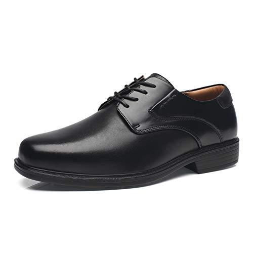 La Milano Wide Width Men's Leather Dress Shoes Slip On Square Toe Loafer Shoes Mens Comfortable Business Extra Wide Shoes EEE, Wide-4-black, 12