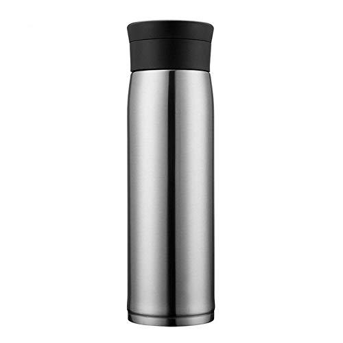 LANKOULI Edelstahl-Vakuumflaschen Tragbare Fahrzeugbecher Thermosflasche Kaltwasserbecher Kaffeeflasche Thermoskanne aufbewahren-550 ml_Silber