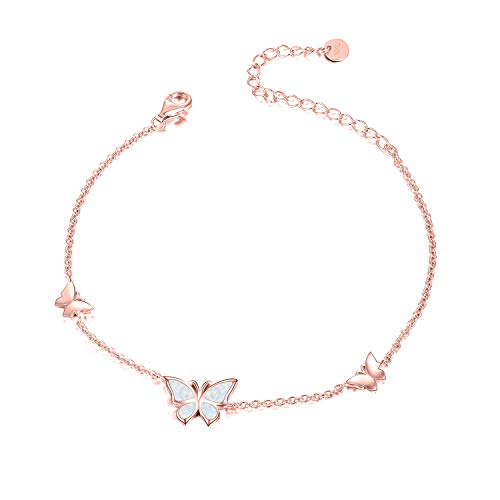 WINNICACA Butterfly Opal Anklets S925 Sterling Silver Rose Gold Jewellery for Women Girl Gifts