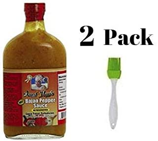 Aunt May's Hot Bajan Pepper Sauce 12 Oz (Pack of 2) Bundled with Silicone Basting Brush in a Prime Time Direct Sealed Bag