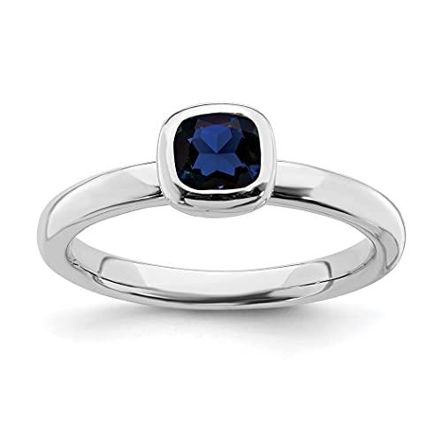 Anillo de plata de ley 925 pulido apilable expresiones corte cojín zafiro anillo tamaño J 1/2 joyería regalos para mujeres