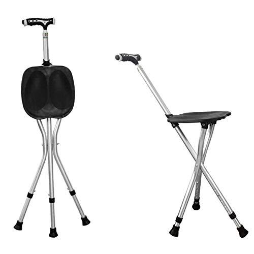 Ruedaman ステッキチェア 多点杖 折りたたみステッキ 軽量 ステッキ 椅子杖 杖 高齢者いす 高輝度led ステッキチェアー 軽量 ゴルフ観戦 黒 20A002-JPF