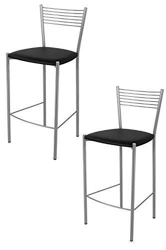 Tommychairs - Set 2 sgabelli alti modello Elegance per cucina e bar, struttura in acciaio verniciata colore alluminio e seduta imbottita e rivestita in pelle artificiale colore nero