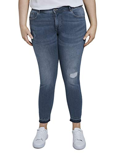 TOM TAILOR MY TRUE ME Damen Jeanshosen Skinny Jeans im Used-Look Destroyed Mid Stone Blue Denim,50,10123,6000