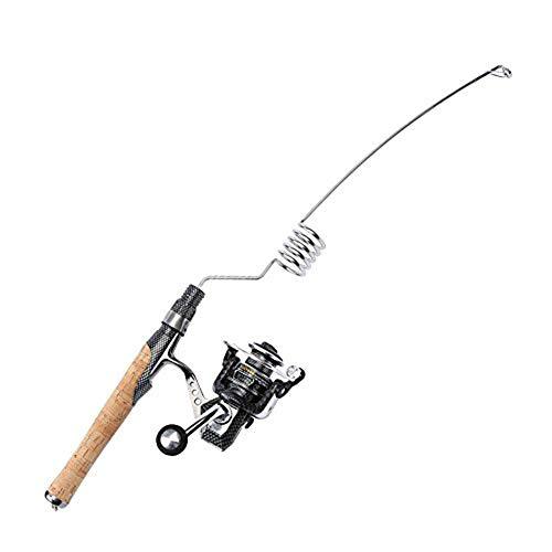 Emmrod Elastic Fishing Rod and Reel Combos 1000 Type All Metal Spinning Wheel Cork Handle Sea Pole Ultra Short Portable Fishing Rod MZ-5C-SG