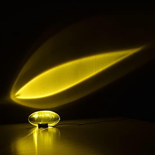 Puhui Lámpara de mesa LED con forma de huevo de cristal, 7 W, USB, proyector de luz solar moderno, estilo romántico, proyección de puesta de sol para selfie, dormitorio, salón, decoración de fiesta