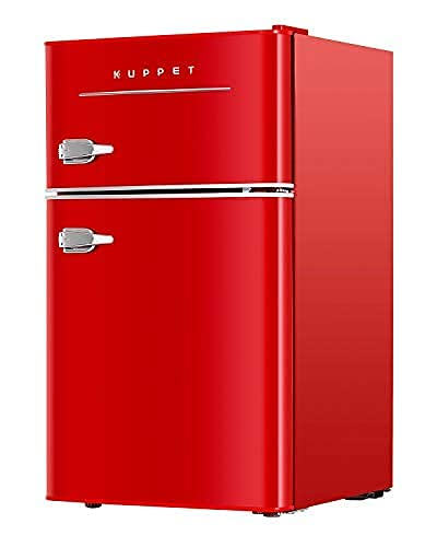 2-Door Retro Mini Compact Refrigerator for Dorm, Garage, Camper, Basement or Office, 3.2 Cu.Ft (Red)