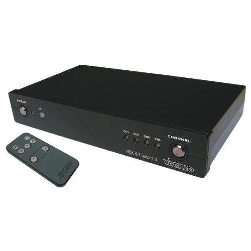 Vivanco HDX 4.1 auto HDMI 1.3 4-Kanal-Automatik-Schaltpult, HDCP, mit Fernbedienung, Schwarz