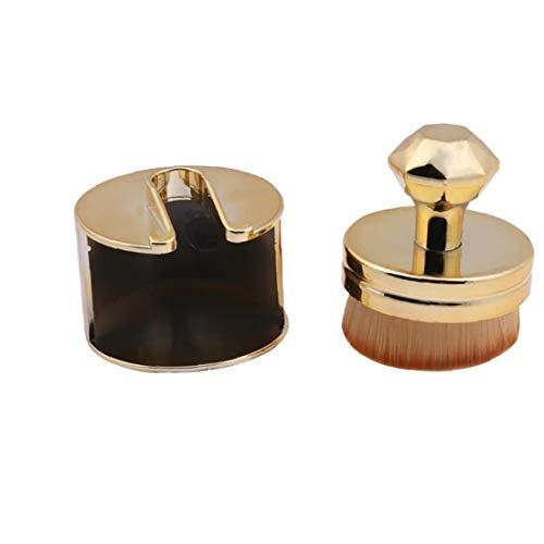 1pc ultra doux Maquillage Pinceau rond Joint plat en forme Pinceau fond de teint brosse cosmétiques avec support parfait pour le mélange liquide, crème ou poudre (d'or)