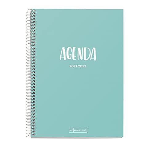 Miquelrius - Agenda Septiembre 2021 Junio 2022, Semana Vista, Tamaño 15 x 21.3 cm, Bilingüe Español e Inglés, Azul