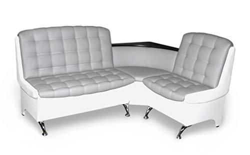 Eckbank Affogato Essecke Sitzbank Grau-Weiß Modern Kunstleder inkl. Ablage und Stauraum
