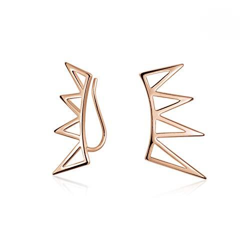 Boho de moda minimalista pirámide geométrica triángulos crawlers oreja Pin Warp Climbers pendientes para mujeres adolescente rosa oro chapado 925 plata de ley