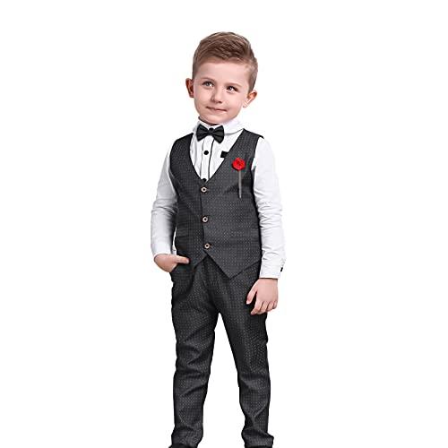 Nwada Traje de Caballero para niños, Camisa de Vestir Larga para niños, Pantalones, Chaleco, Pajarita, Esmoquin, Mamelucos para niños de 6 a 7 años