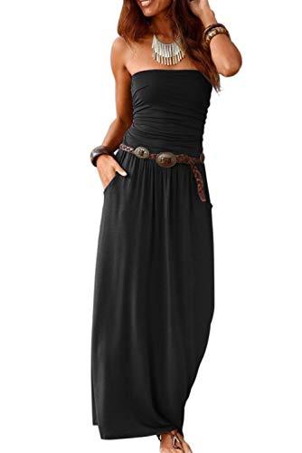 Ancapelion Damen Maxikleid Langes Kleider Bandeau Kleid Böhmen Sommerkleid Trägerloses Strandkleid Abendkleid, S, Schwarz-einfarbig
