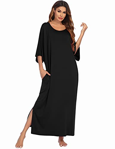 Ekouaer Womens V-Neck Cotton Nightgown Oversized Loose Fit Long Sleep Dress, A black, XX-Large