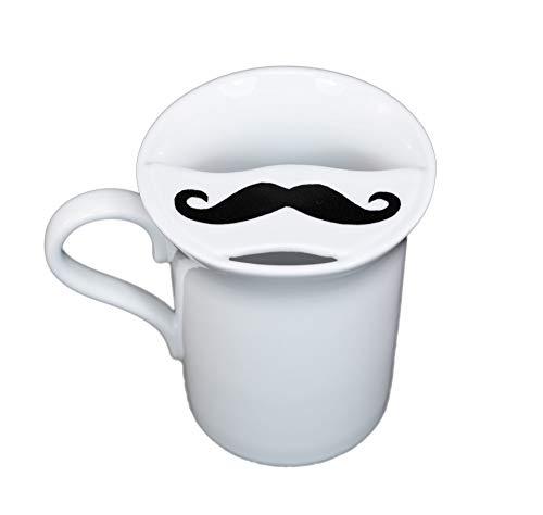 Barttasse Tasse mit Bartschutz Kaffeetasse Becher für Männer für Linkshänder aus Porzellan