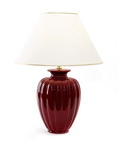 Tischleuchte Lampe Palazzo Bordeaux aus Keramik rot | Tischlampe E27 | Handgefertigt in Italien | Exklusive Leuchte mit 24 Karat Gold Veredelung GL7774