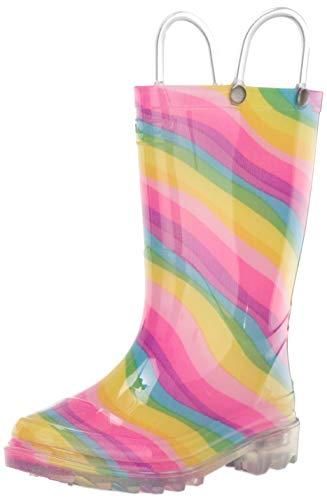 Western Chief2412806B - Botas de agua PVC iluminadas arco iris Wck Unisex Niños , Multi (Rainbow 45), 10 M US Niño Pequeño