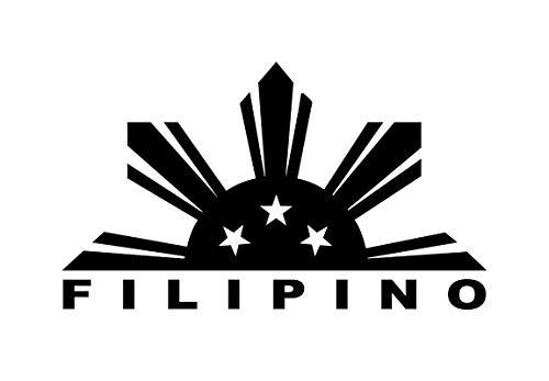 Filipino Flag Sun Stars Decal Vinyl Sticker Cars Trucks Vans Walls Laptop  Black 5.5 x 3.2 in DUC673