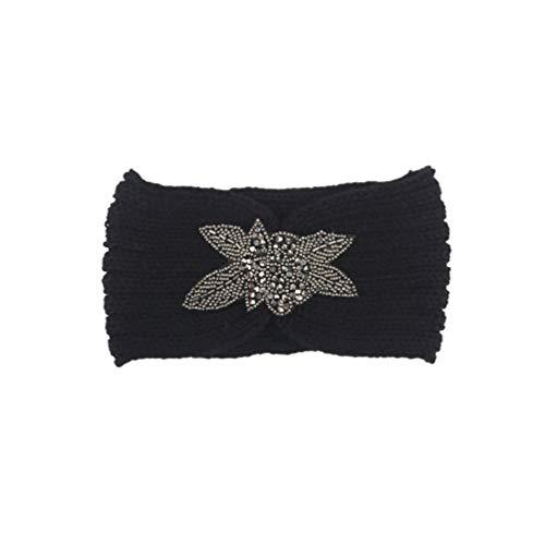 Minkissy diadema de turbante de ganchillo hilado de lana banda para el cabello de punto banda para el cabello protector elástico de oreja de invierno elástico con flor para niñas mujeres (negro)