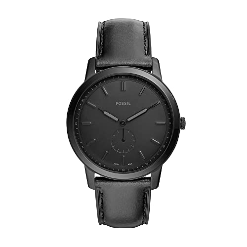 Fossil Men's The Minimalist Quartz Stainless Steel and Leather Two-Hand Subeye Watch, Color: Black (Model: FS5447)
